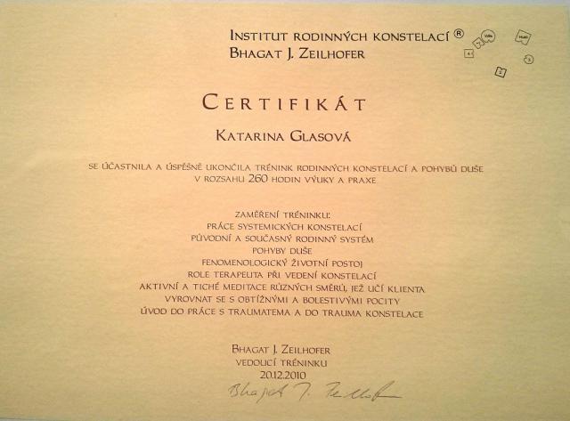 Certifikát Institutu rodinných konštelácií Bhagata J. Zeilhofera
